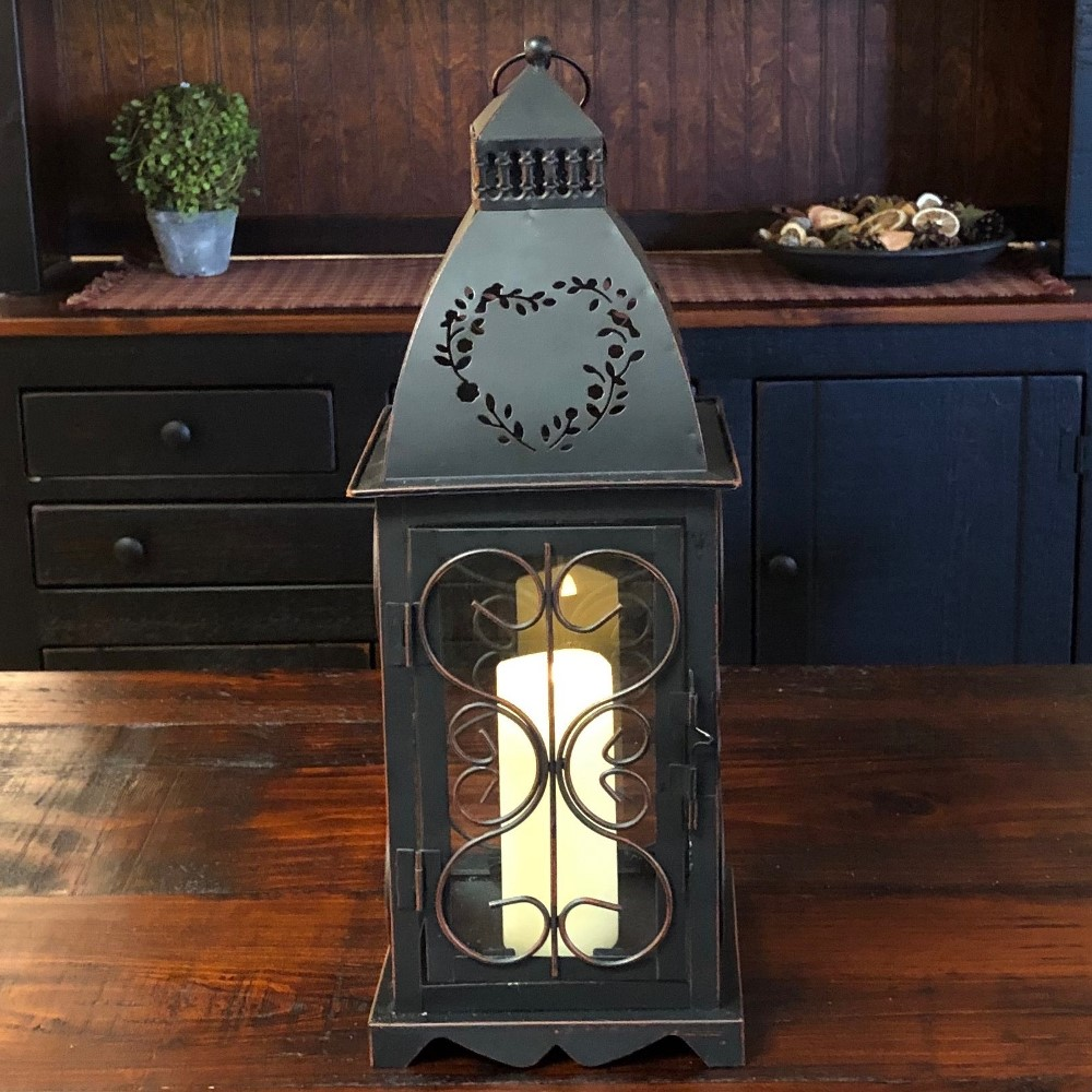 Candle Lantern Holder - Antique Black Heart Lantern - 16in