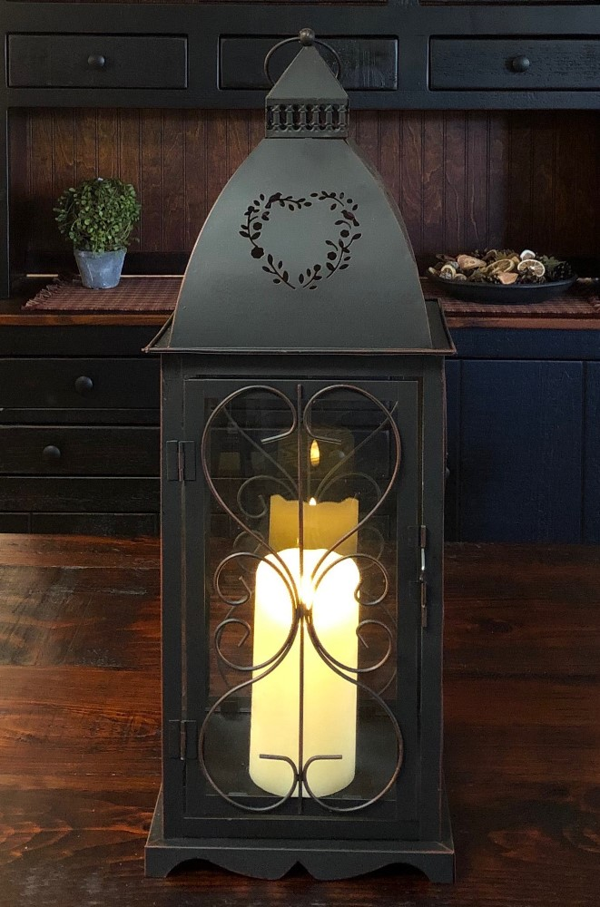 Candle Lantern Holder - Antique Black Heart Lantern - 21.5in