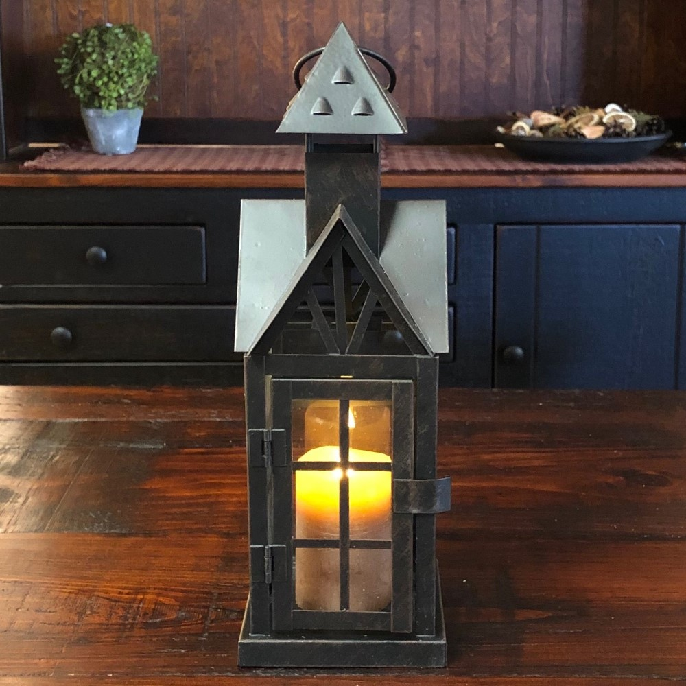 Candle Lantern Holder - Antique Black House Lantern - 12.25in