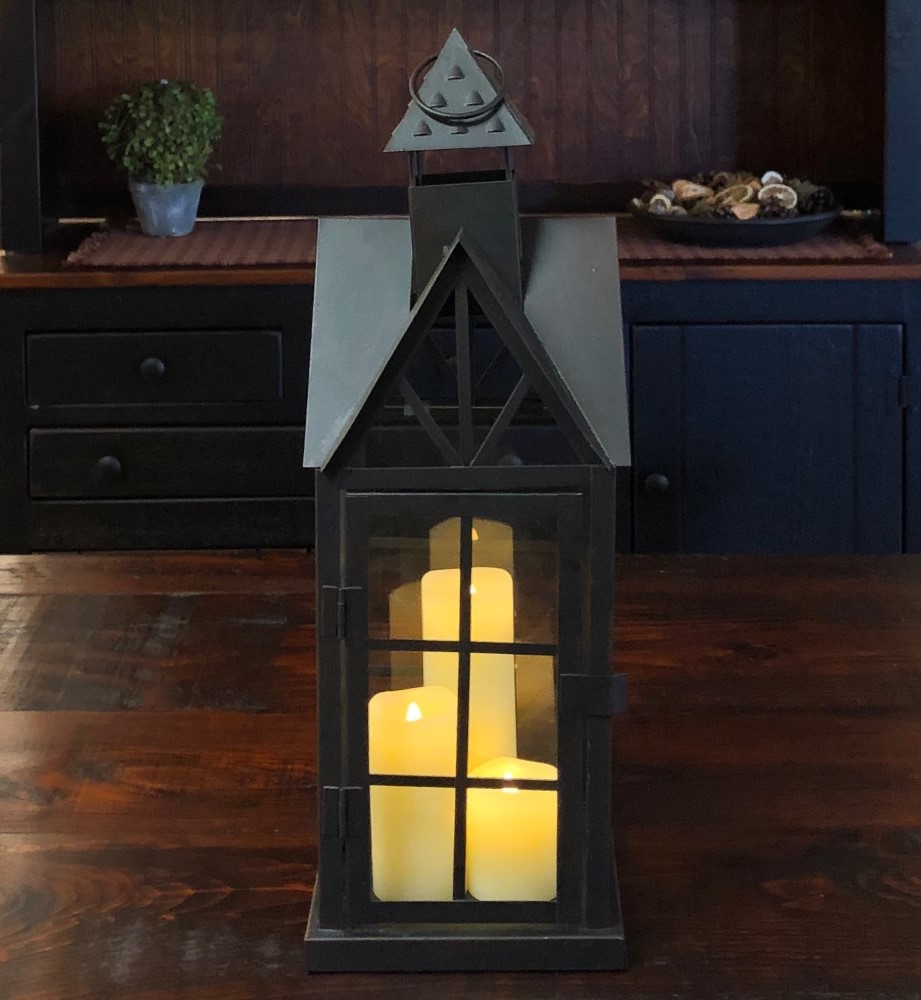 Candle Lantern Holder - Antique Black House Lantern - 18.5in