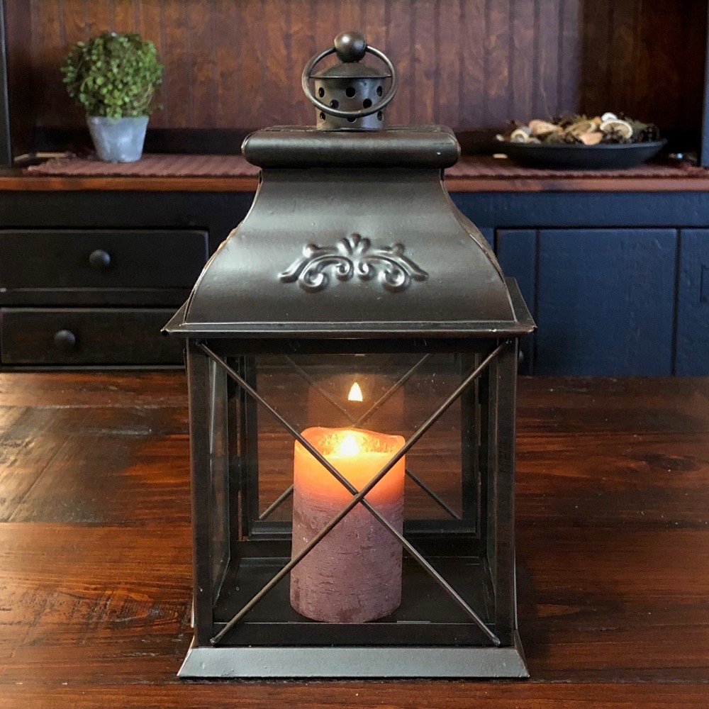 Candle Lantern Holder - Antique Black Lantern - 10.5in