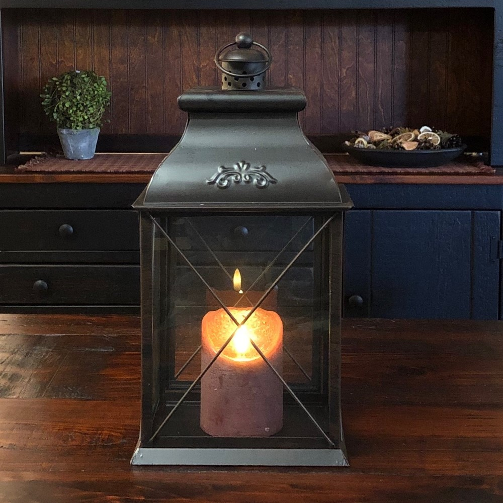 Candle Lantern Holder - Antique Black Lantern - 14.5in