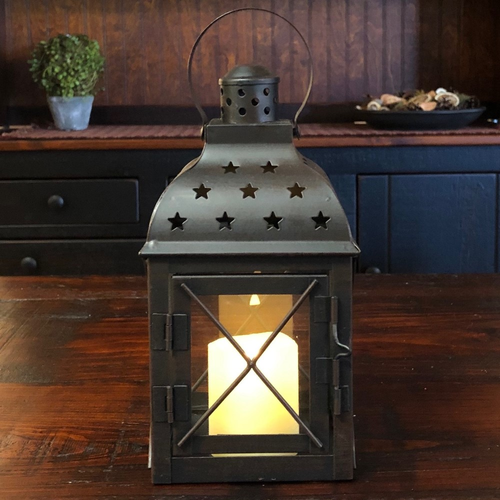 Candle Lantern Holder - Antique Black Star Lantern - 8.5in