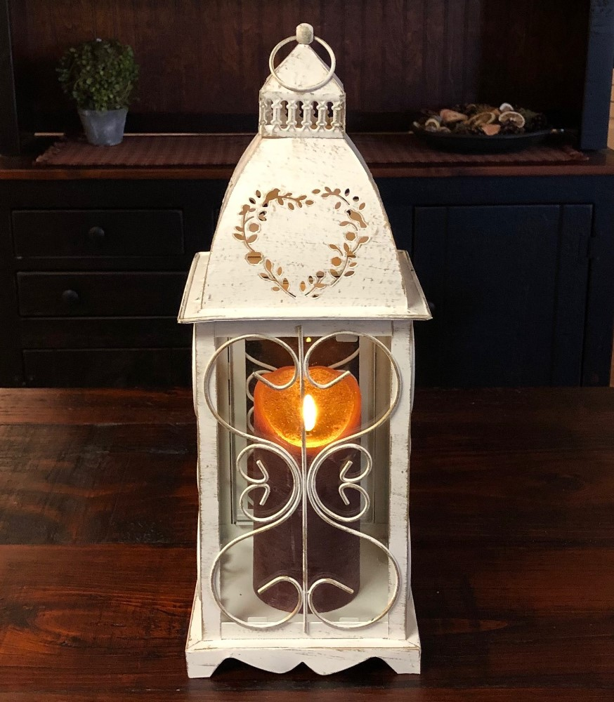 Candle Lantern Holder - Antique Cream Heart Lantern - 16in