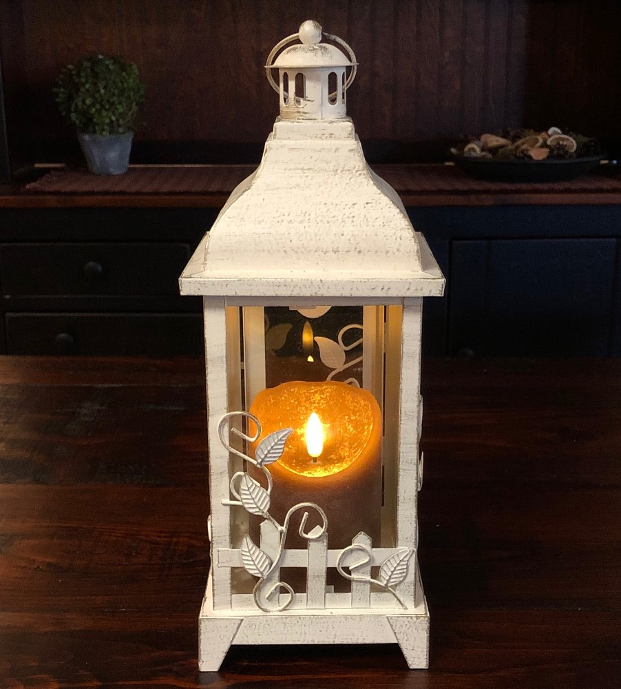 Candle Lantern Holder - Antique Cream Vine Lantern - 13in