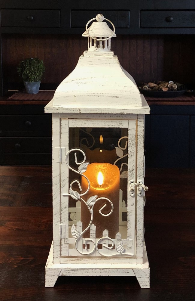 Candle Lantern Holder - Antique Cream Vine Lantern - 19in