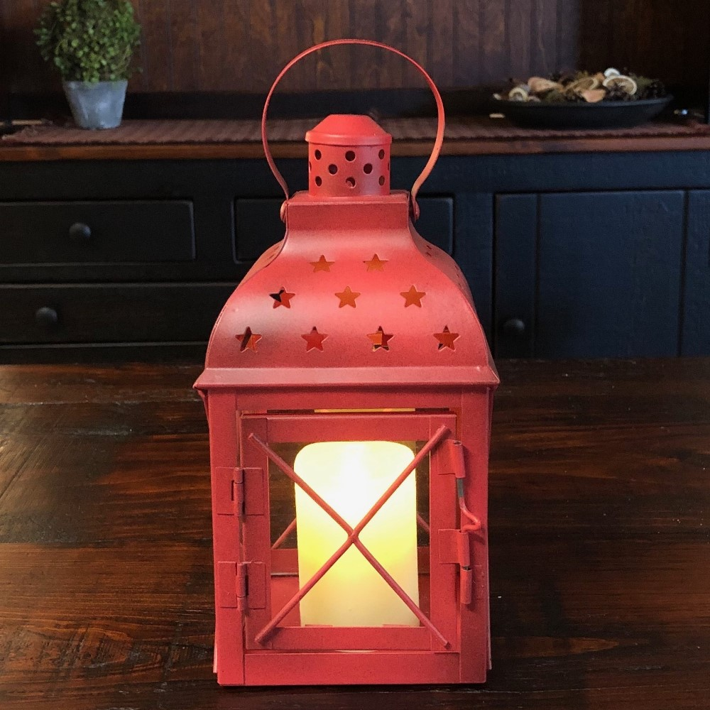 Candle Lantern Holder - Antique Red Star Lantern - 8.5in