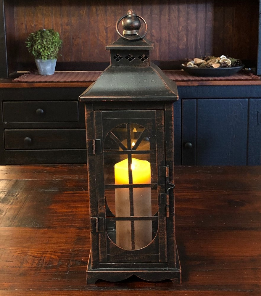 Candle Lantern Holder - Rustic Black Lantern - 13.75in