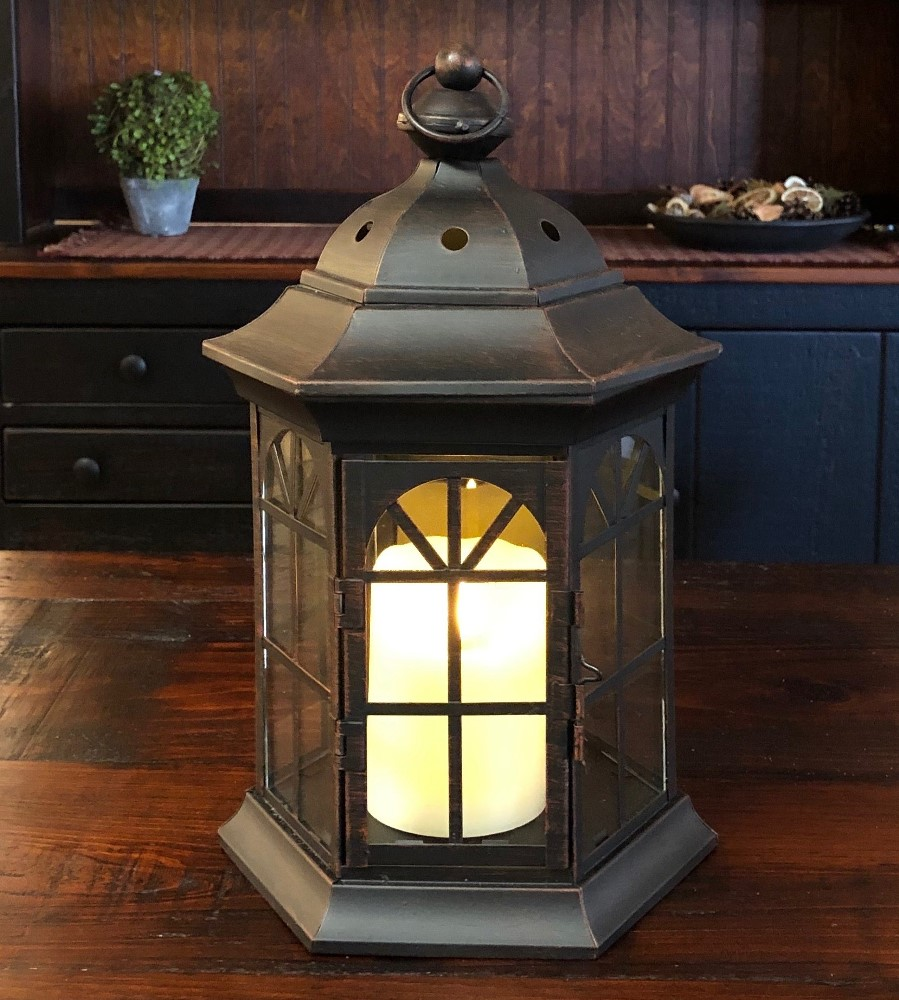 Candle Lantern Holder - Rustic Black Octagonal Lantern - 13.25in