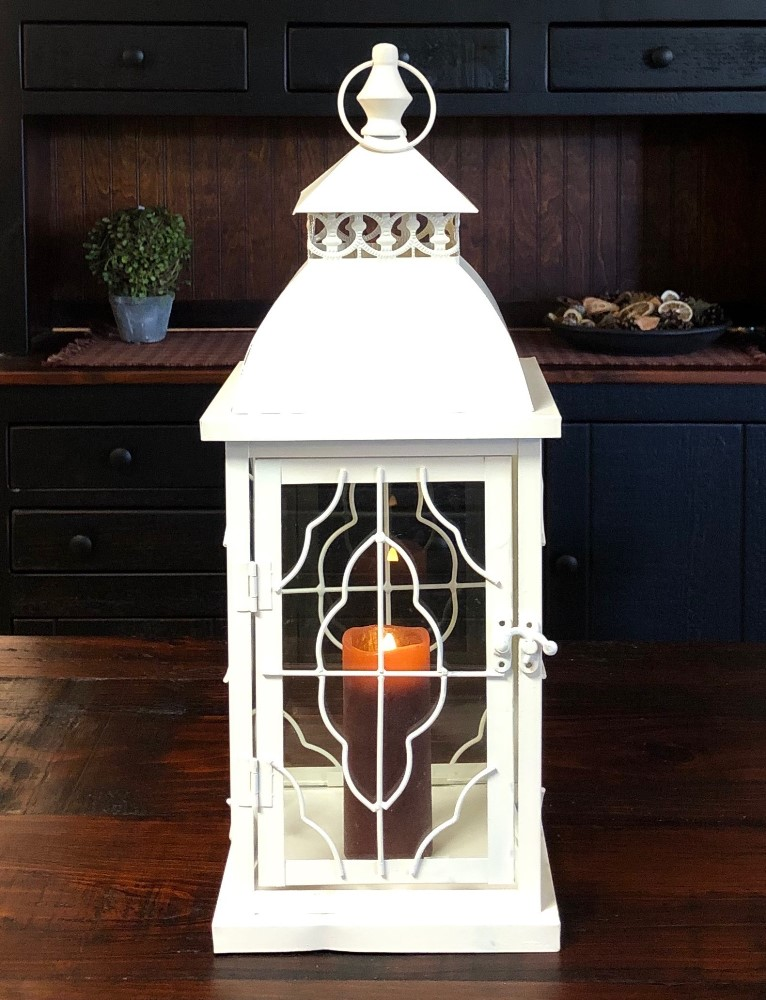 Candle Lantern Holder - Rustic Cream Deco Wire Lantern - 18.5in