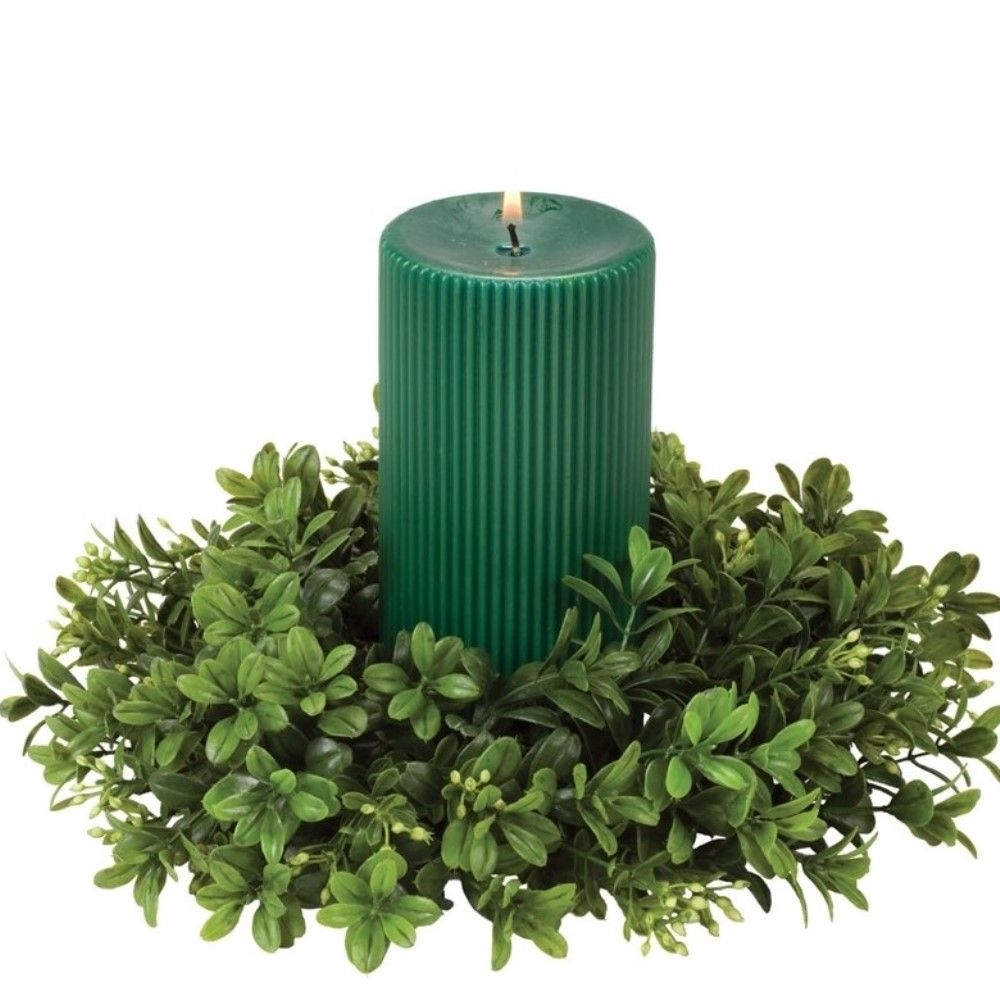 Green Leaf Candle Ring - Boxwood - Green - 4.5in