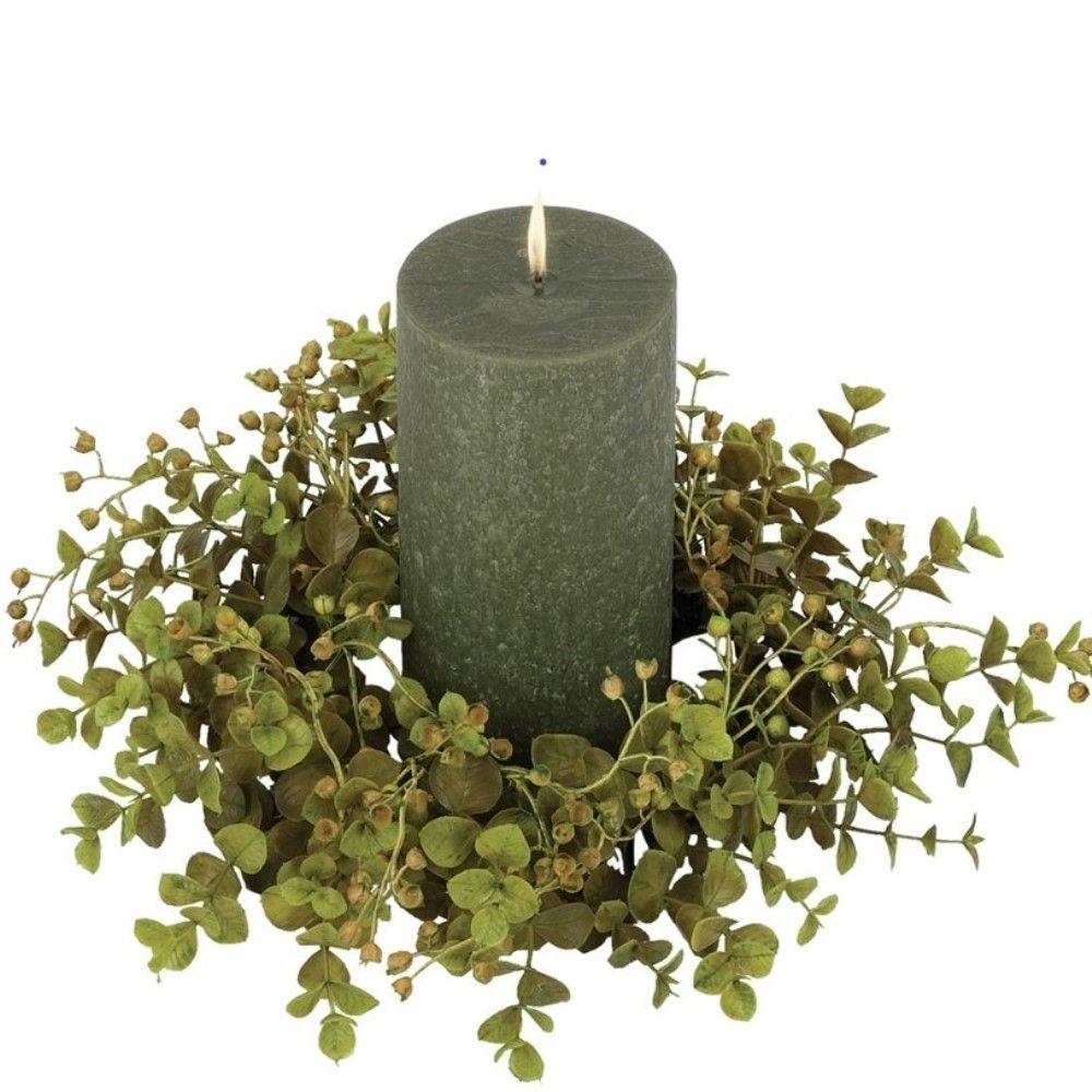 Green Leaf Candle Ring - Eucalyptus - Green - 4in
