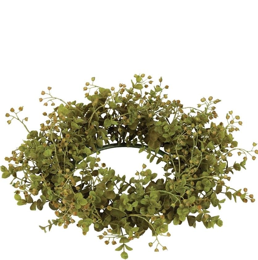 Green Leaf Candle Ring - Eucalyptus - Green - 6.5in