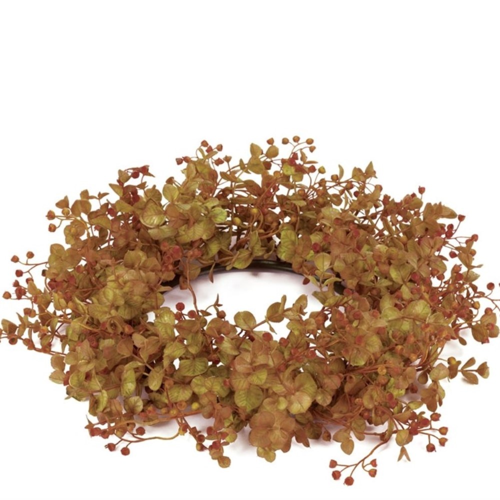 Rust Leaf Candle Ring - Eucalyptus - Rust - 6.5in