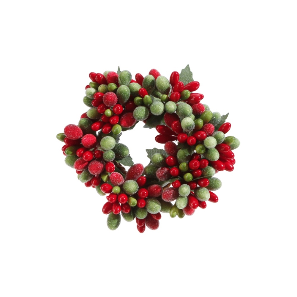 Green/Red Frost Candle Ring - 1in