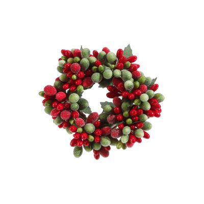 Candle Ring - Green/Red Frost Candle Ring - 1in Inner