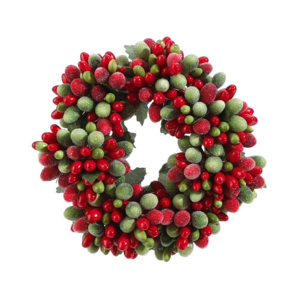 Green/Red Frost Candle Ring - 2in