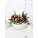 Candle Ring - Icy Berry With Mini Pine Cone - 1 Inch