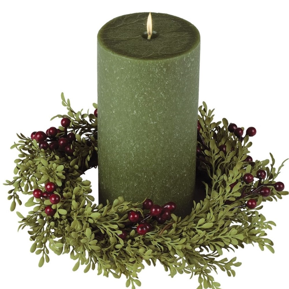 Holly Berry Candle Ring - Mini Leaf & Red Berries  - 4.5in