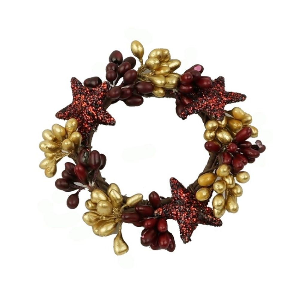 Winter Candle Ring - Holiday Pip Berry with Glitter Stars - 1.5 Inch