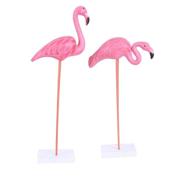 Carved Wood Pink Flamingo Figurine- 24in - Assorted