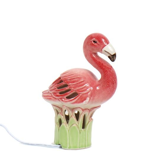 Ceramic Lamp - Lighted Flamingo Lamp - 7.5in