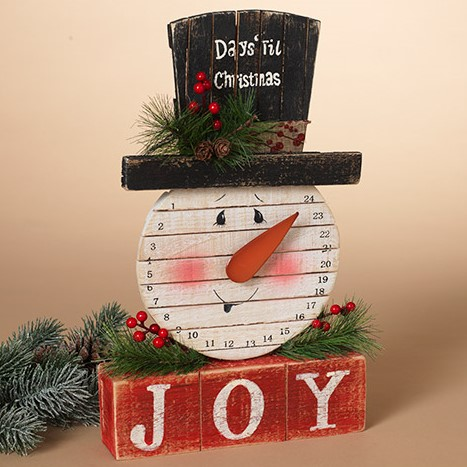 Christmas Countdown Calendar - Snowman with Pine & Berry Accents - 14in
