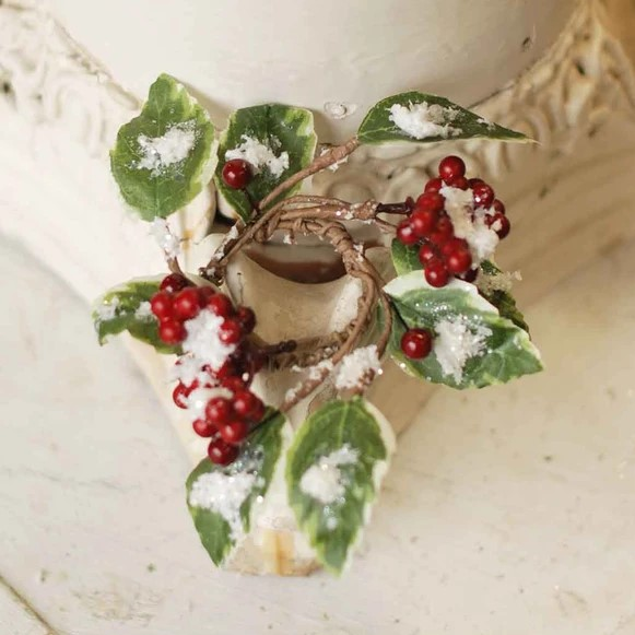 Christmas Holly Berry Candle Ring - With Red Berries - 1.5in