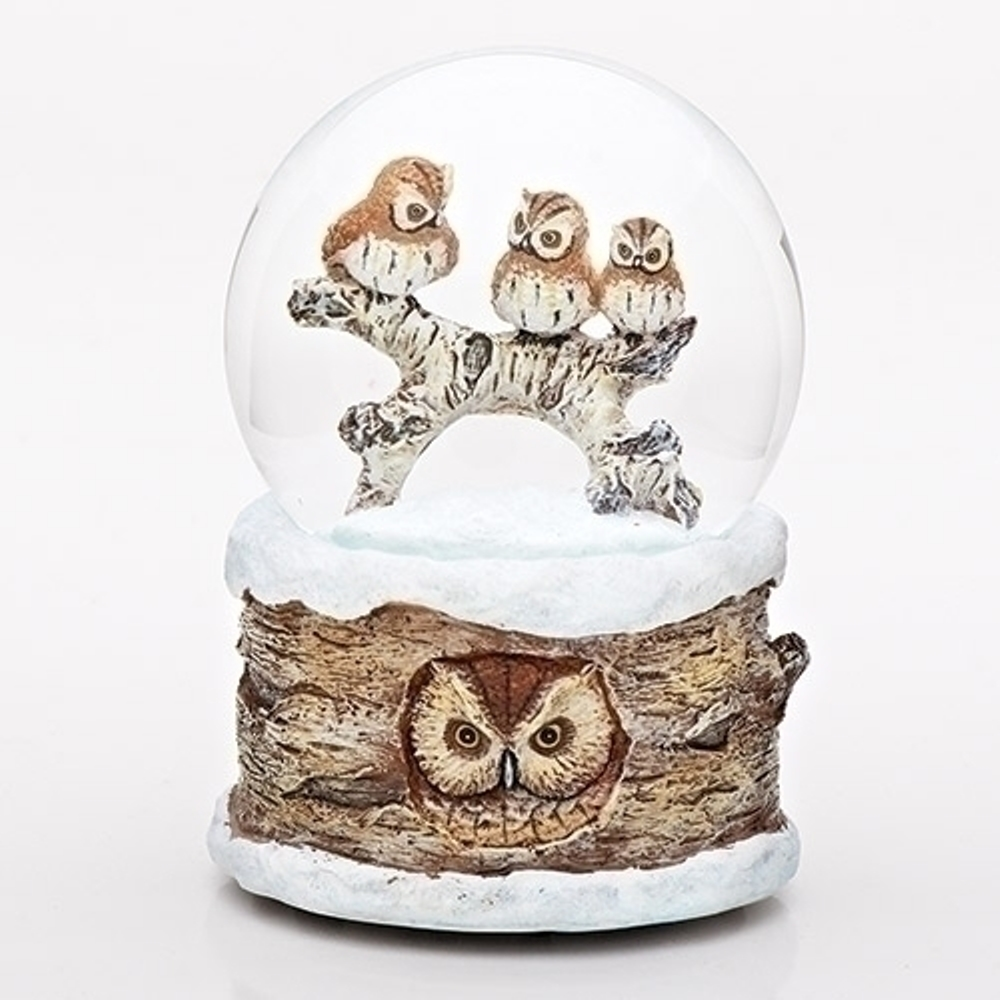 Christmas Musical Snow Globe - Owl Family on Log - 6in