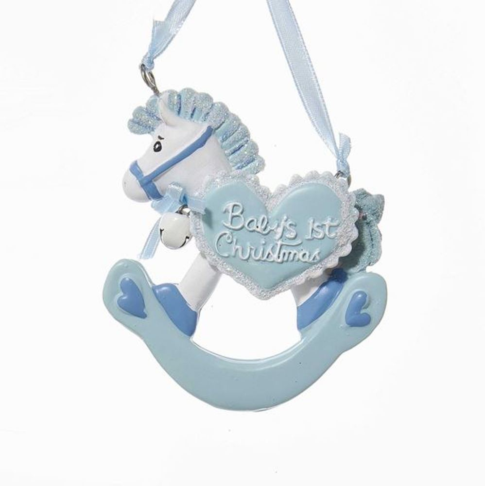 Christmas Ornament - Baby Boy 1st Christmas Rocking Horse - 3.5in