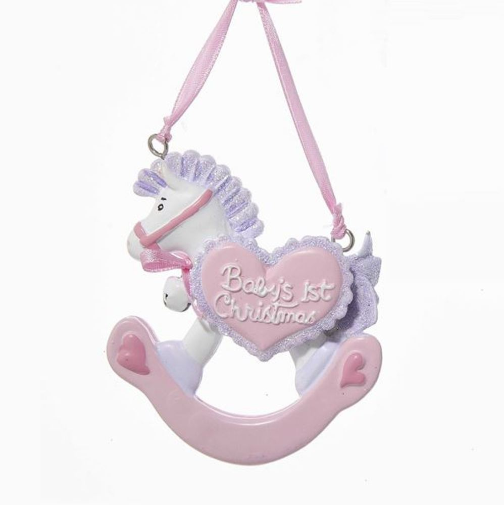 Christmas Ornament - Baby Girl 1st Christmas Rocking Horse - 3.5in
