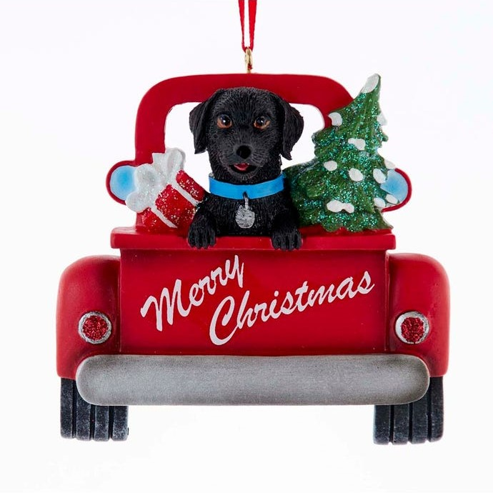 Christmas Ornament - Black Lab In Red Truck - 5.5in