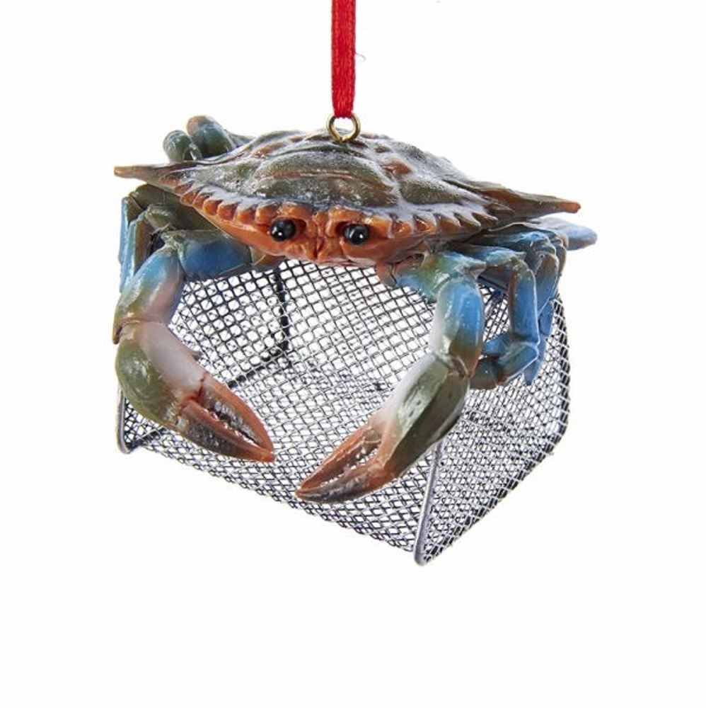 Christmas Ornament - Blue Crab With Wire Cage - 3in