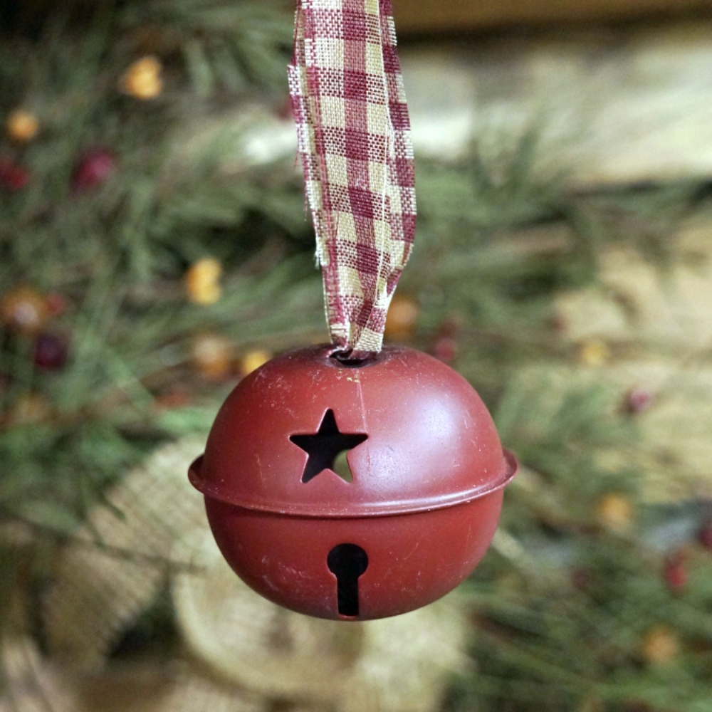 Christmas Ornament - Burgundy Bell with Gingham Ribbon - 2 Inch