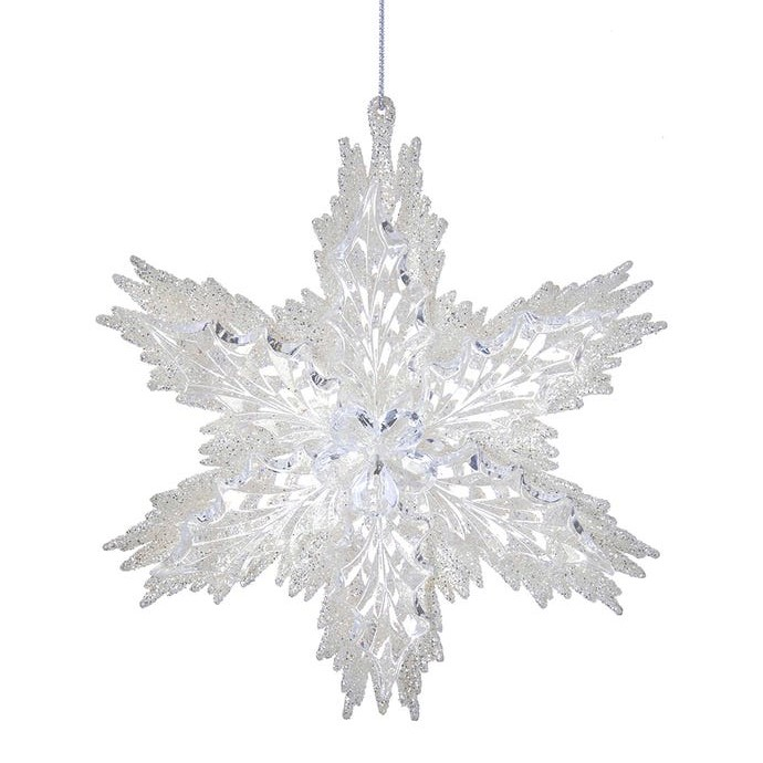 Christmas Ornament - Clear Acryllic Glitter Snowflake - 6in