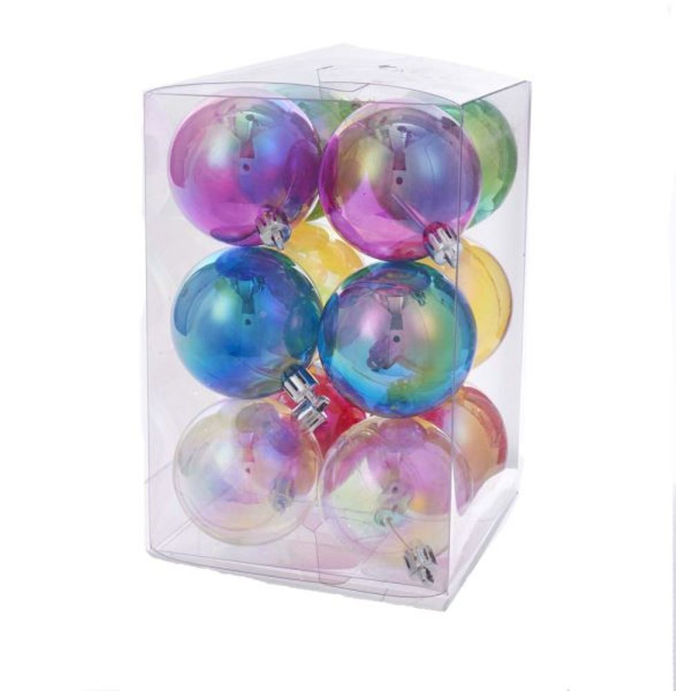 Christmas Ornament - Clear Iridescent Ball - Set of 12