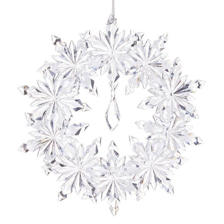 Christmas Ornament - Clear Snowflake Wreath - 5.5in