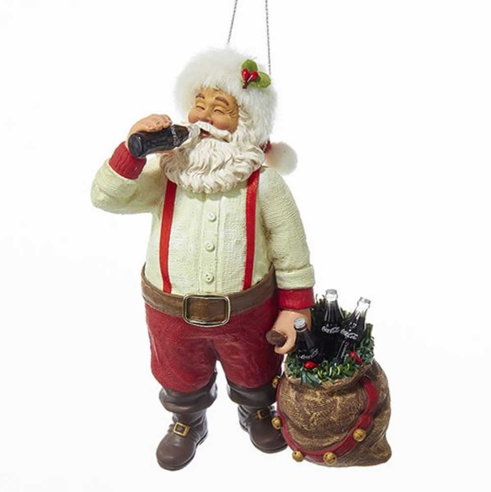 Christmas Ornament - Santa Drinking Coca-Cola - 5.5in