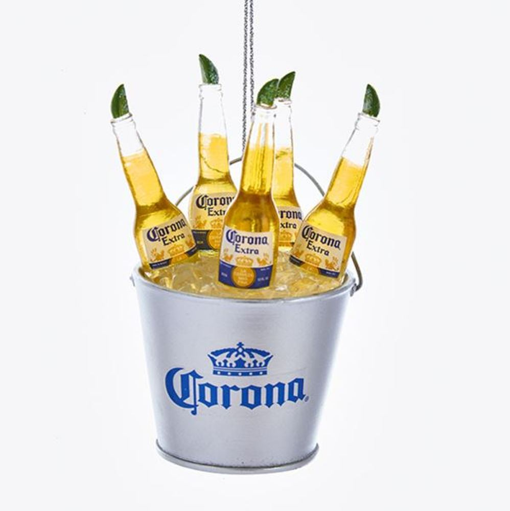 Christmas Ornament - Corona Bottles In Ice Bucket - 3.75in