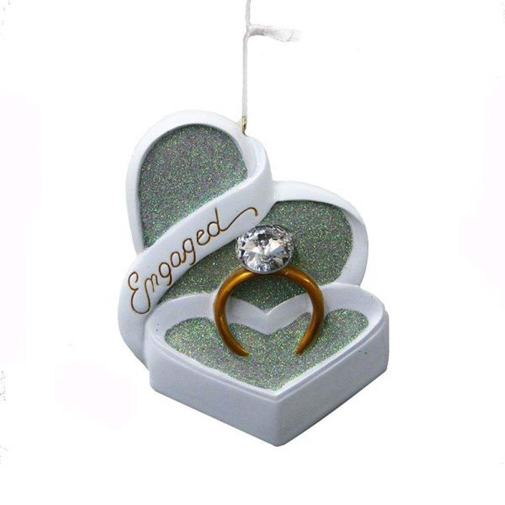 Christmas Ornament - Engagement Ring In Box - 4in