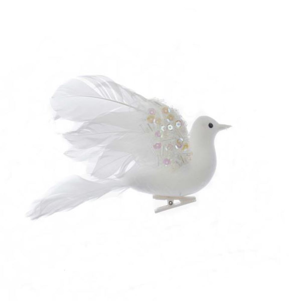 Christmas Ornament - Feathered Flying Dove Clip - 6in