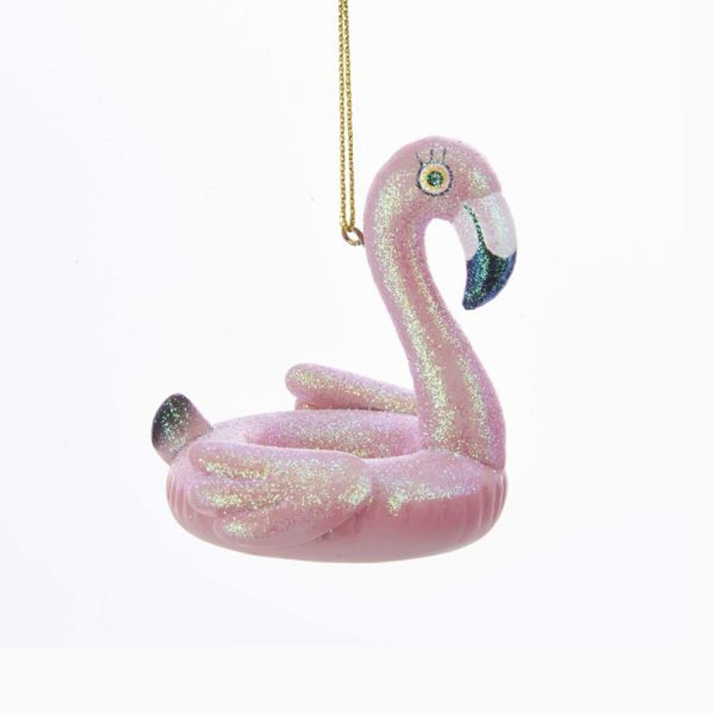 Christmas Ornament - Flamingo Pool Float - 2.75in