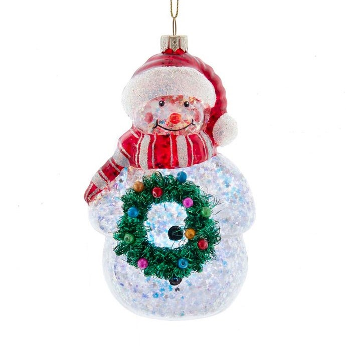 Christmas Ornament - Glass Snowman With Wreath - 5.5in