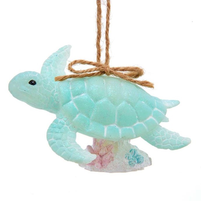 Christmas Ornament - Glittered Green Sea Turtle - 3.75in