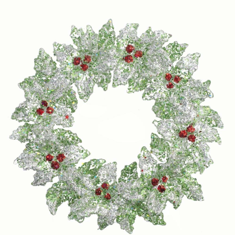Christmas Ornament - Green Holly Wreath - 5in