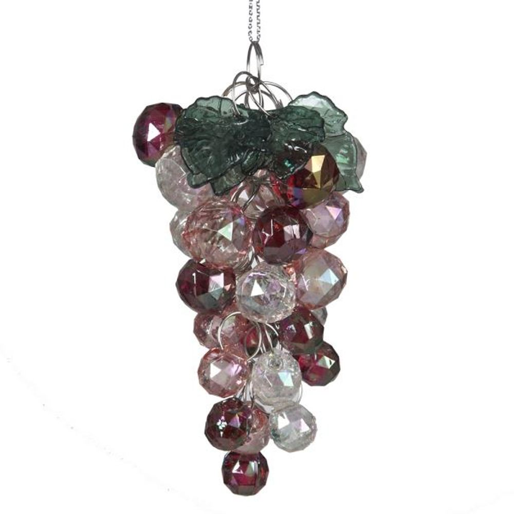 Christmas Ornament - Iridescent Bead Grapes - 4in