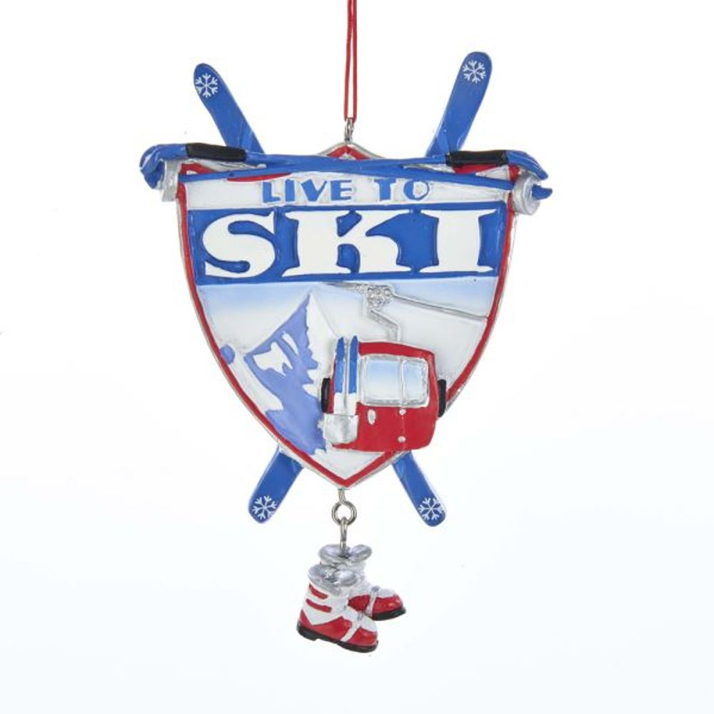 Christmas Ornament - Live To Ski - 3.3in