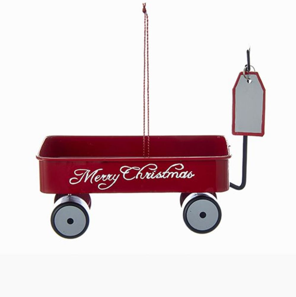 Christmas Ornament - Metal Red Merry Christmas Wagon - 3.9in