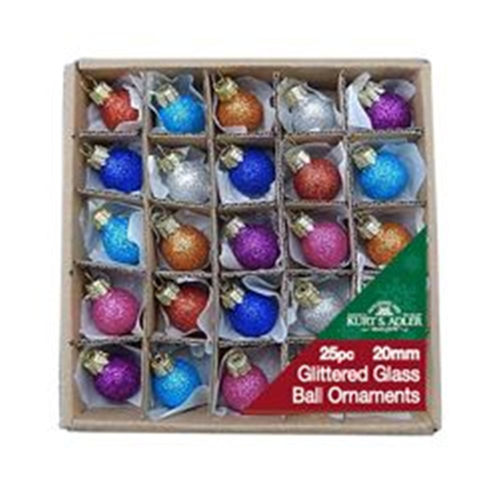 Glass Ornament - Glitter Ball - Set of 25