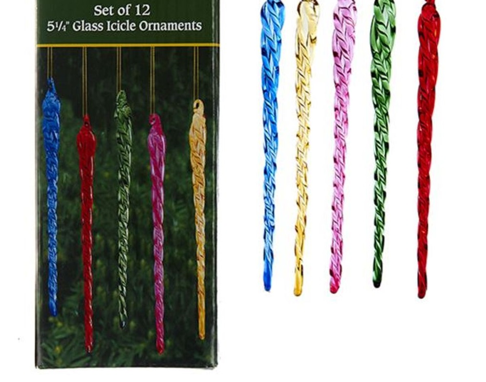 Christmas Ornament - Multi-Colored Icicle Set of 12 - 5.25in